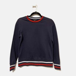 Banana Republic Navy Blue and Striped Sweater